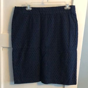 Talbots Navy Eyelet Pencil Skirt